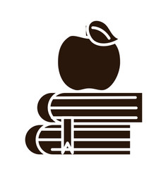 School education apple on books supply silhouette vector