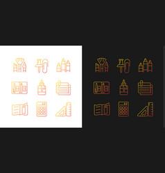 School essential equipment gradient icons set vector