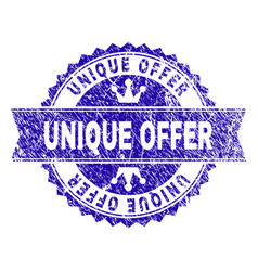 Scratched textured unique offer stamp seal with vector