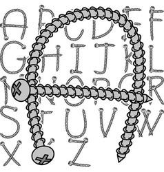 screw alphabet vector image