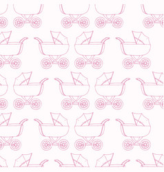 seamless pattern baby carriage for doughter baby vector image