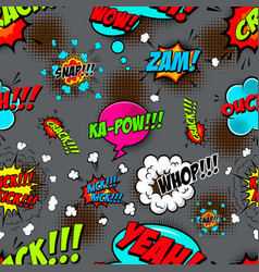 seamless pattern with comic style speech clouds vector image