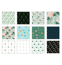 set 12 tropical palm leaves seamless pattern vector image