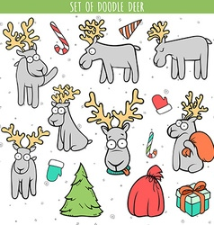 Set color deer doodle different poses for design vector image