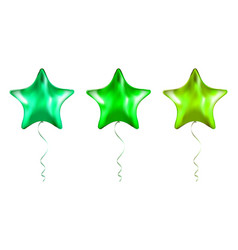 set green star shaped foil balloons on vector image