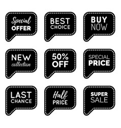 Set of comic speech bubbles with sale vector
