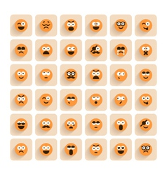 set of emotion smiling faces icons vector image