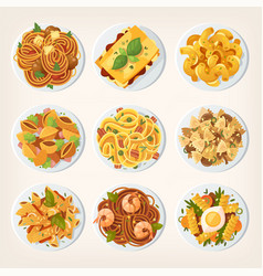 set of many different kinds of pasta from top vector image