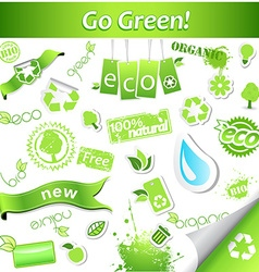 Set of simple green ecology icons and labels vector image