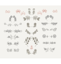Set of symmetrical floral graphic design elements vector