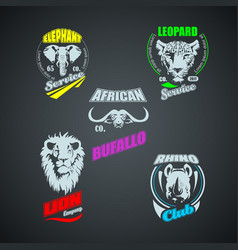 set of vintage african wild animal logos colored vector image