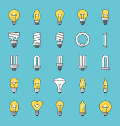 set simple type light bulb and fluorescent vector image