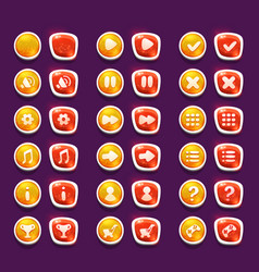Set with shiny red and yellow interface buttons vector