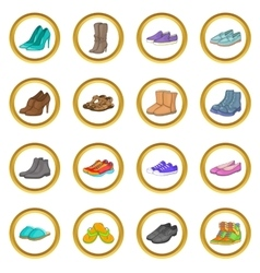 Shoe set cartoon style vector image