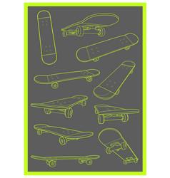 skateboard set collection vector image