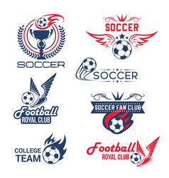 Soccer football club tournament icons set vector