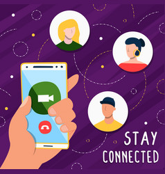stay connected on social media phone app vector image