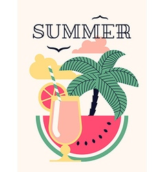 Summer Poster with a Cocktail vector image