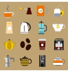 Tea and coffee icons set flat style vector image