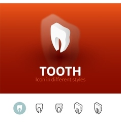 Tooth icon in different style vector image