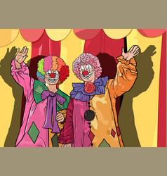 two colorful clowns waving vector image