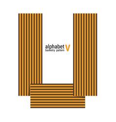 V - unique alphabet design with basketry pattern vector