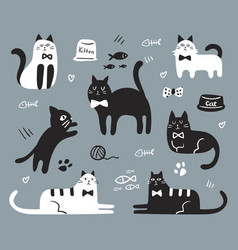 variety cute cats set vector image