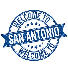 Welcome to san antonio blue round ribbon stamp vector