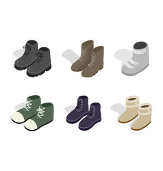 winter autumn boots icon set isometric style vector image