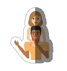 woman hugging man lovely shadow vector image
