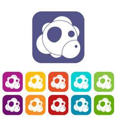 atom icons set flat vector image vector image