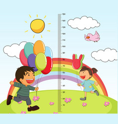 growth mearsuring chart with girl and boy in park vector image