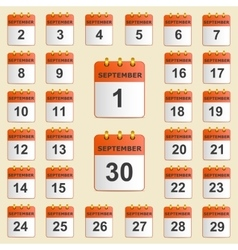 Set of icons for the calendar in September vector image