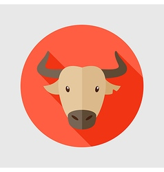 Spanish bull buffalo flat icon animal head vector