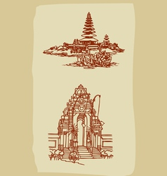 Vintage Balinese temple sketches vector image