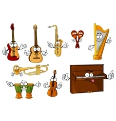 Classic cartoon musical instruments characters vector image vector image