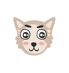 cute grey cat head funny cartoon animal character vector image vector image