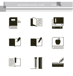 education and school outline icon collection vector image