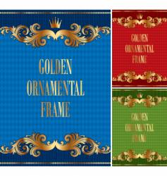 frame with golden ornament vector image