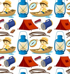 Seamless boy rowing boat and camping gears vector