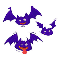 set of 3 bats isolated on a white background vector image vector image