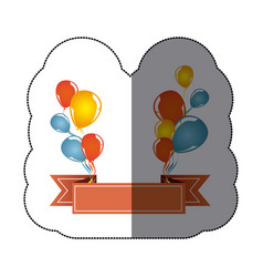 sticker colorful balloons party with decorative vector image vector image