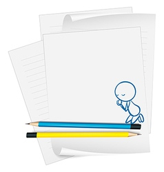 A paper with a sketch of a boy praying vector image vector image