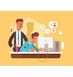 Boss looks employee vector image vector image