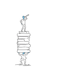 business man standing on book stack looking in vector image vector image
