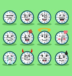 flat clock emojis vector image