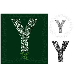 letter y made with decorative leaves vector image vector image
