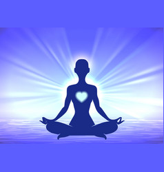 meditation woman silhouette on blue background vector image vector image