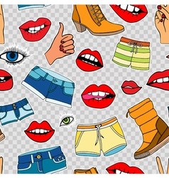 Pattern with fashion patch badges vector