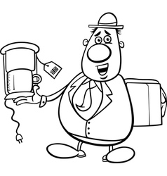 salesman cartoon for coloring book vector image
